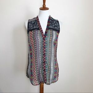 NWT ROPER sleeveless Aztec & lace blouse! XS